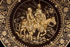 Toledo - Platte mit Don Quixote und Sancho Panza. stockfotos