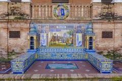 Toledo Province, Glazed tiles bench at Spain Square, Seville. Glazed tiles bench of spanish province of Toledo at Plaza de Espana, Seville, Spain stock photo