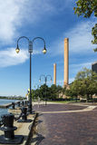 Toledo Riverside. A view of downtown Toledo Ohio's river front on the Maumee river.  A beautiful  blue sky with white clouds for a backdrop Royalty Free Stock Images