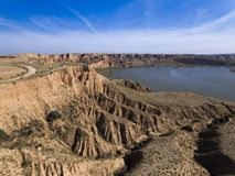 Toledo´s cliffs and lake stock image