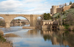 Toledo - San Martin s bride or Puente de san Maritn in morning Stock Photography