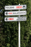 Toledo sign. Road signs in Spain. Directions to Toledo, Salamanca, Malaga, Segovia Stock Image
