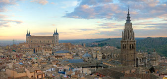 Toledo Skyline aerial photography. An aerial photo of the Toledo skyline at sunset in Spain Stock Photos