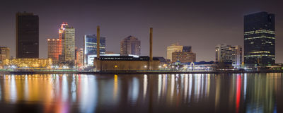 Toledo Skyline at Night. A panoramic view of the Toledo skyline in night Royalty Free Stock Photography
