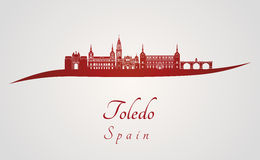 Toledo skyline in red Royalty Free Stock Photos