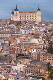 Toledo skyline view at sunset with alcazar. Spain Stock Images