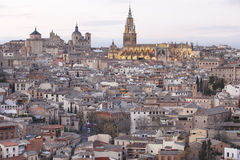 Toledo skyline view at sunset with cathedral. Spain Royalty Free Stock Photography