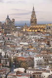 Toledo skyline view at sunset with cathedral. Spain Royalty Free Stock Image
