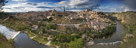 Toledo - Spain. Panoramic view in the old city in Toledo with rainbow. Spain - Europe stock image