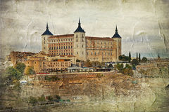Toledo, Spain. Toledo alcazar (Spain) - picture in painting style Stock Photos