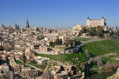 Toledo in Spain. Nice view on Toledo and part of Tag river Stock Images