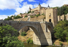 Toledo, Spain. Alcazar and Alcantara Bridge Stock Photography
