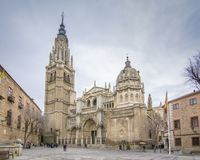The Cathedral Santa Maria de Toledo. Toledo, Spain; 02 12 2017: The Cathedral Santa Maria de Toledo, excellent example of the Gothic in Spain Royalty Free Stock Image