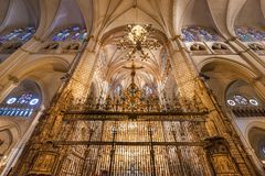 Toledo, Spain - December 16, 2018 : Interior of Toledo cathedral in historic medieval city of Toledo. Spain royalty free stock images