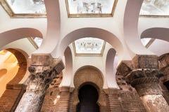 Toledo, Spain - December 16, 2018: Interior of the Mosque of Cristo de la Luz, Toledo, Castilla la Mancha, Spain.  stock images