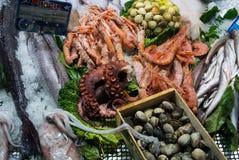 TOLEDO, SPAIN - FEBRUARY 10, 2017: Seafood market at Toledo Stock Photos