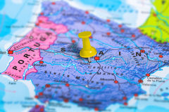 Toledo Spain map. Toledo in Spain pinned on colorful political map of Europe. Geopolitical school atlas. Tilt shift effect Stock Image