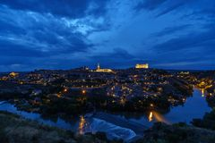Toledo, Spain - May 05 2018 Cathedral of Toledo at Night stock photography