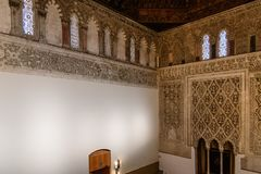 Indoor view of Synagogue of Transito in Toledo Stock Images