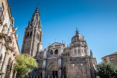 Low angle outdoor view of the Cathedral of Toledo Royalty Free Stock Photos
