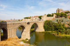 Toledo, Spain. Old stone Alkantar Bridge in Toledo, Spain Stock Photos