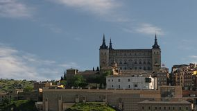 Toledo, Spain. Old town cityscape at the Alcazar palace. Time lapse. stock video footage