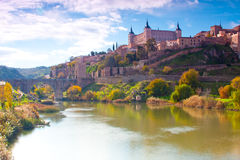 Toledo Spain. Palace on the hilltop in toledo spain on an autumn day Stock Photography