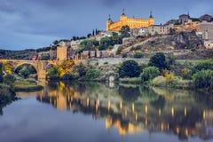 Toledo, Spain on the Tagus River. Toledo, Spain town skyline on the Tagus River Stock Photography