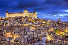 Toledo, Spain Town Skyline. At the Alcazar at dawn Royalty Free Stock Images