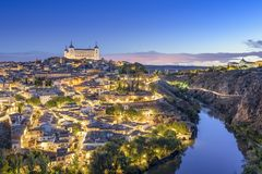 Toledo, Spain Town Skyline. On the Tagus River at dawn stock photos