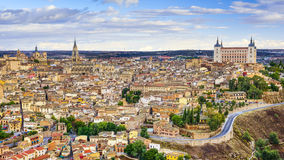Toledo, Spain Town Skyline. On the Tagus River at dawn Stock Photo