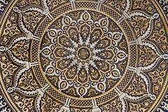 Toledo - szczegół typowy damaszkuje talerz. Zdjęcie Stock