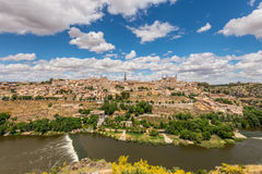 Toledo, beside the Tagus River, Spain. Toledo, Spain old town city skyline stock images