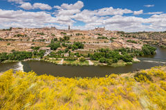 Toledo, beside the Tagus River, Spain. Toledo, Spain old town city skyline royalty free stock photography