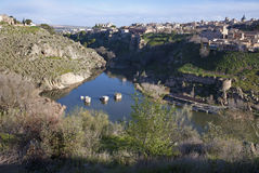 Toledo - valley of Tajo river and town Stock Photography