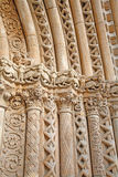 Toledo - Zuiden gotisch portaal van Kathedraal Primada Santa Maria de Toledo bij nacht Royalty-vrije Stock Afbeeldingen