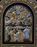 Toleod - Detail van typische metaalplaat met de imitatie van El Greco-verf Royalty-vrije Stock Foto's
