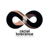 Tolerância racial entre o símbolo conceptual das nações diferentes, ilustração royalty free