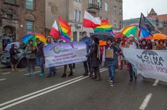 Tolerado LGBT organisation at National Independence Day in Gdansk in Poland. Celebrates 99th a. GDANSK, POLAND - NOVEMBER 11, 2017: Tolerado LGBT organisation at Stock Image