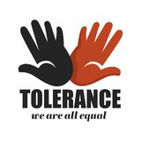 Tolerance anti racism campaign isolated icon color palms stock illustration