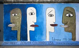 Tolerance on Berlin Wall stock photos