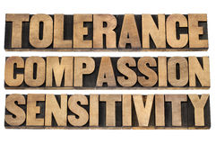 Tolerance, compassion, sensitivity. Words  - a collage of isolated text in letterpress wood type printing blocks Royalty Free Stock Images
