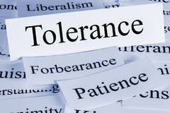 Tolerance Concept and Patience and Forbearance. Tolerance Concept - a conceptual look at tolerance, forbearance, patience, liberalism Royalty Free Stock Images