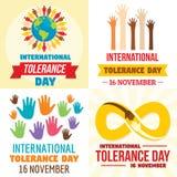 Tolerance day banner set, flat style. Tolerance day banner set. Flat illustration of tolerance day vector banner set for web design vector illustration