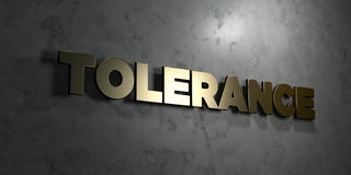 Tolerance - Gold text on black background - 3D rendered royalty free stock picture Royalty Free Stock Image