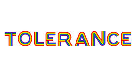 Tolerance LGBT community emblem. Rainbow letters gay symbol Royalty Free Stock Images