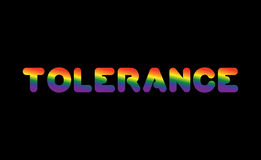 Tolerance LGBT sign of rainbow letters. Letitiging for gays and Stock Images
