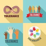 Tolerance logo set, flat style royalty free illustration