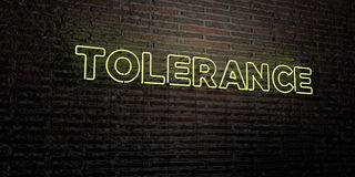 TOLERANCE -Realistic Neon Sign on Brick Wall background - 3D rendered royalty free stock image Royalty Free Stock Image