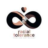 Tolerancia racial entre el símbolo conceptual de diversas naciones, mA ilustración del vector